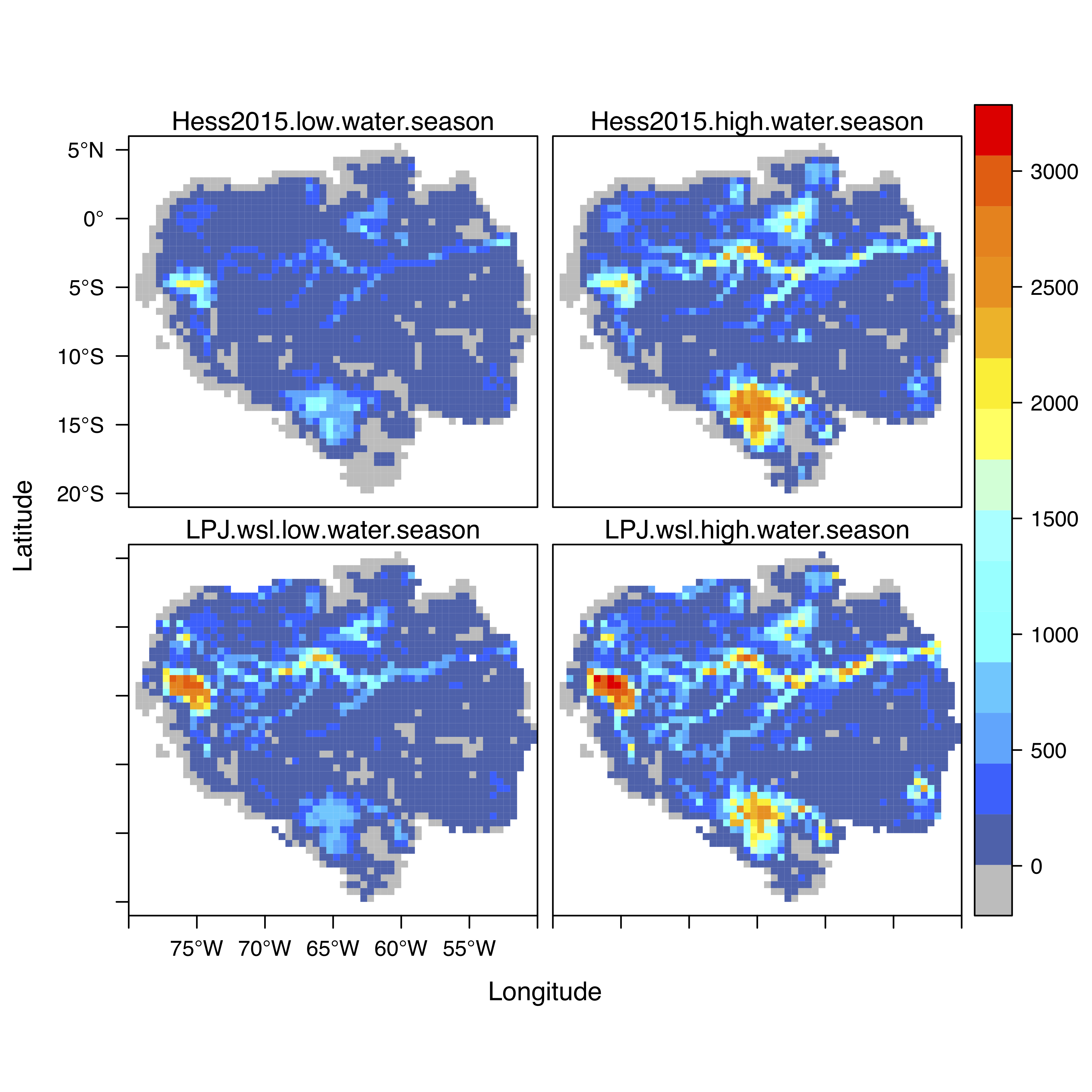 Seasonal inundation simulated by LPJ-wsl in comparison with satellite JERS-1 (Hess et al., 2015) for Amazon regions.